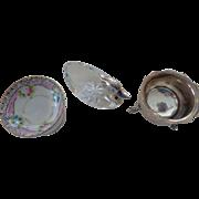 Three Salt Dishes: Sterling,Noritake,Crystal