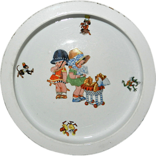 Darling Vintage Baby Dish with Children and Teddy Bear Design