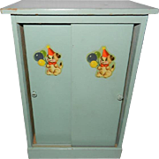 1950's Green Painted Wooden Doll Clothes Wardrobe