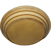 """9"""" Vintage 1940's Yellowware Pie Plate with Brown and White Bands"""
