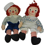 Fantastic Pair of Late 1950's Georgene Raggedy Ann and Andy Dolls
