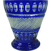 SOLD Wonderful Vintage Bohemian Cobalt Cut To Clear Large Ice Bucket