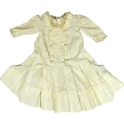 Outstanding Antique Ca 1880-90 Cotton Doll Dress Feather Stitching