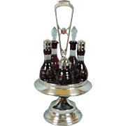 SOLD Antique Victorian Reed & Barton Ruby Red Cranberry Glass Cut to Clear Cruet Set In Si