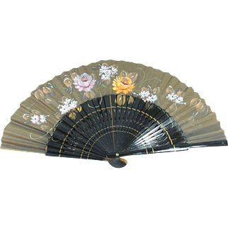 Antique Circa 1879 Hand Painted Ladies Hand Fan Dated & Provenance