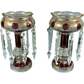 """Stunning Antique 11"""" German Glass Clear & Cranberry Candle Lustres Lusters Holders Spear Prisms"""