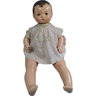 Vintage 1930's Effanbee Patsy Baby Composition & Cloth Doll In Original Dress