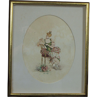 Exquisite Antique Signed Circa 1900 Watercolor Portrait of a Victorian Lady Gibson Girl
