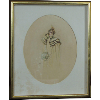 Beautiful Antique Circa 1900 Watercolor Portrait of a Young Woman Gibson Girl