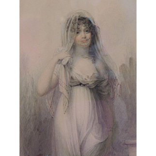 Antique Original Richard Cosway Watercolor Painting Portrait of Lady Clayton