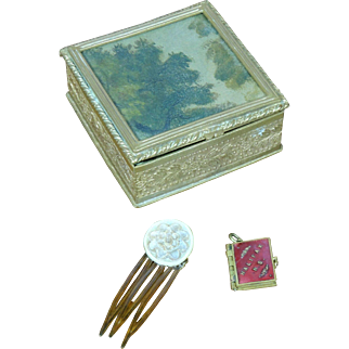 Antique Miniature French Bronze Dore Dresser Box With Accessories 4 French Fashion!
