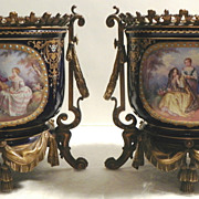 Pair of European Enamel on Copper Jardineres Late 19th Century
