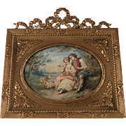 French Miniature Painting of Lovers.  Circa 1900