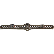 Art Deco White Gold and Diamond Bar Pin