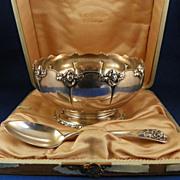 Gorham Sterling Bowl and Spoon Cherub Motif 1880 Date Mark