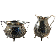 Sterling Repousse Cream and Sugar