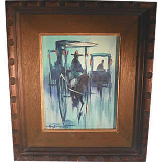 Mid Century Abstract Oil Painting