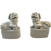 Pair of Chinese White Porcelain Foo Dogs.  19th C