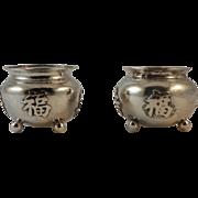 Pair of Chinese Silver Salt Cellars