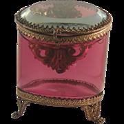 Victorian Cranberry Glass Pocket Watch Holder