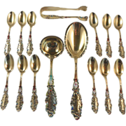 Hostess Set.  Gilt Enamel Gorham Luxembourg