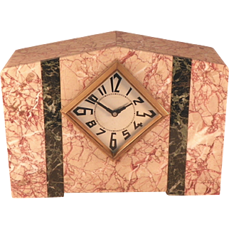 French Art Deco Marble Mantle Clock.