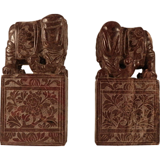 Pair Chinese Soapstone Bookends. Early 20th C