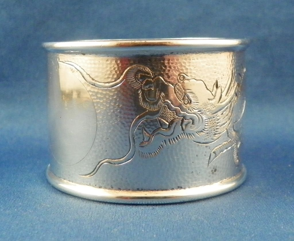 Chinese Export Silver Napkin Ring Dragon Motif Early 20th C