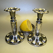 SOLD Vintage Silver Flower Candle Sticks/Pair Art Nouveau Style Finland/ Suomi