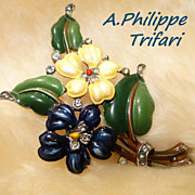 Trifari Alfred Philippe Enamel Viola/Heart's Delight Flower Pin/Clip 1940/42