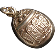 Art Deco Egyptian Revival Sterling Silver Scarab Beetle Pendant