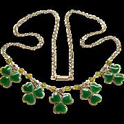 Sweet Sterling Silver Champleve Enamel Peridot Shamrock Clover Charm Necklace