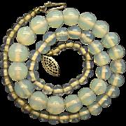 Art Deco Opalescent/Opaline Glass Graduating Beads Necklace Silver 1920s