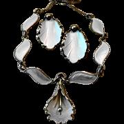 Vintage Askel Holmsen Norway Sterling & Enamel Necklace + Hans Myhre Earrings
