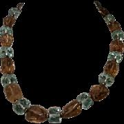 Gorgeous Genuine Gemstone Blue Crystal & Smokey Quartz Bead Necklace