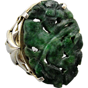 Vintage Carved Chinese Jade Sterling Silver Ring