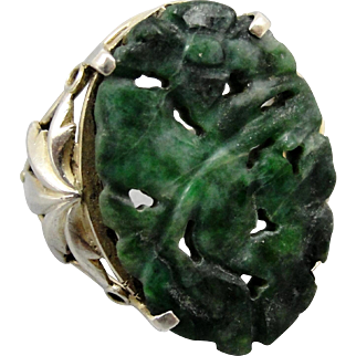 SALE Gorgeous Carved Chinese Jade Sterling Silver Ring Size 6.5