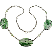 Art Deco Carved Chinese Jade Sterling Silver Filigree Necklace