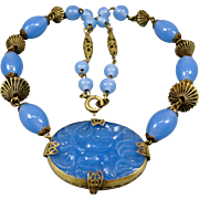 Art Deco Czech Blue Glass Brass Filigree Necklace 1920's