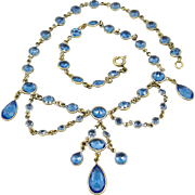 SALE Antique Bezel Set Blue Crystals Festoon Necklace Victorian Edwardian