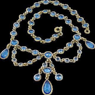 SALE Antique Bezel Set Blue Crystals Festoon Necklace Edwardian