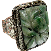 REDUCED Art Deco Carved Jade Chinese Export Ring Bat Motifs Silver Plated Copper or Brass