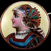 SALE Victorian Limoges Enamel Portrait Brooch
