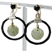 Vintage Carved Jade Beads Black Celluloid Hoop Earrings Deco Modernist