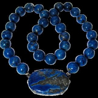 "SALE Art Deco Germany Lapis Lazuli Sterling Silver Necklace 16.5"""