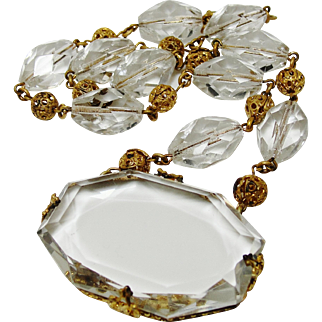 Art Deco Necklace Signed Czech Clear Faceted Glass Gold Gilt Brass Filigree Beads