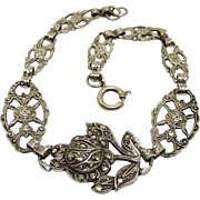Sterling Silver Filigree Rose Floral Marcasite Bracelet Art Deco