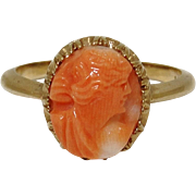 Antique 10K Gold Carved Coral Cameo Ring Size 6 Edwardian Victorian