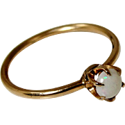 SALE Antique 10K Gold Opal Solitaire Ring Size 5.75