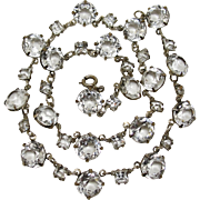 SALE PENDING 1930's Sterling Silver Clear Crystal Glass Riviere Necklace Art Deco